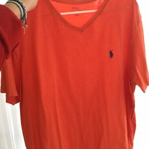 orange polo ralph lauren vneck t-shirt